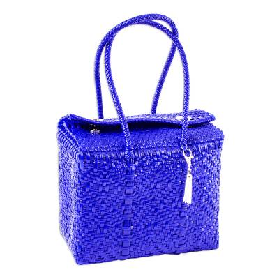 Eco-Friendly Handwoven Tote in Lapis Blue from Mexico