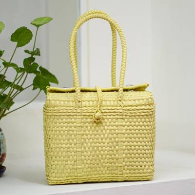 Plastic tote, 'Summer Adventure' - Handwoven Plastic Tote in Buff from Mexico