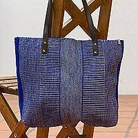 Leather accented wool shoulder bag, 'Sapphire Lake' - Sapphire and Taupe Wool Shoulder Bag from Mexico