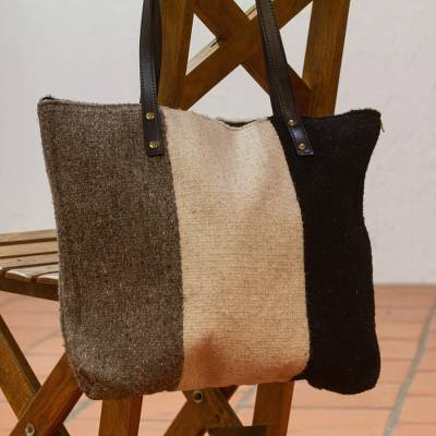 Leather accented wool shoulder bag, 'Layers of Earth' - Tri-Tone Leather Accented Wool Shoulder Bag from Mexico