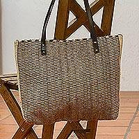 Leather accented wool shoulder bag, 'Autumn Patterns' - Striped Leather Accented Wool Shoulder Bag from Mexico