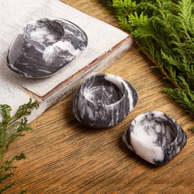 Marble tealight holders, Grey Flow (set of 3)
