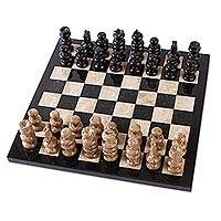 Marble chess set, 'Cafe Battle' - Brown and Black Marble Chess Set from Mexico