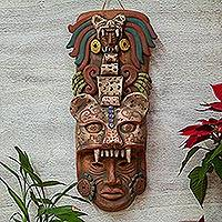 Ceramic mask, 'Noble Jaguar' - Handcrafted Ceramic Jaguar Warrior Mask Wall Art from Mexico