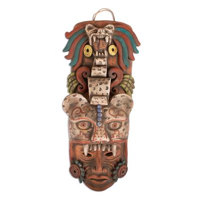 Ceramic mask, 'Noble Jaguar' - Handcrafted Ceramic Jaguar Warrior Mask Wall Art from Mexico