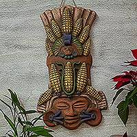 Ceramic mask, 'Maize Majesties' - Handcrafted Ceramic Corn Guardian Mask Wall Art from Mexico
