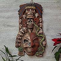 Ceramic mask, 'Mictlantecuhtli' - Handcrafted Guardian of the Dead Ceramic Mask Wall Art
