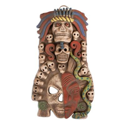 Ceramic mask, 'Mictlantecuhtli' - Handcrafted Guardian of the Dead Ceramic Mask Wall Art