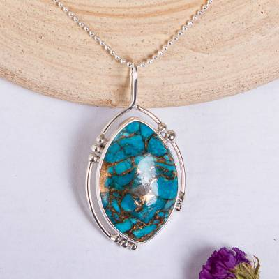 Composite turquoise pendant necklace, 'Wintry Eye' - Composite Turquoise and Taxco Silver Pendant Necklace