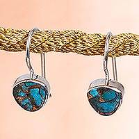 Composite turquoise drop earrings, 'Gleaming Gems' - Taxco Composite Turquoise Drop Earrings from Mexico