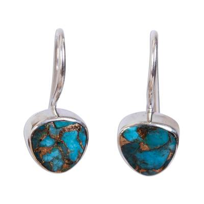 Taxco Composite Turquoise Drop Earrings from Mexico