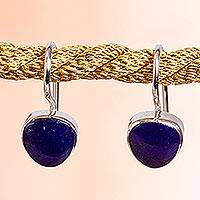 Lapis lazuli drop earrings, 'Gleaming Gems' - Taxco Lapis Lazuli Drop Earrings from Mexico