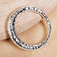 Sterling silver band ring, 'Ring of Freedom' - Hammered Taxco Sterling Silver Band Ring from Mexico