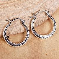 Sterling silver hoop earrings, 'Rings of Freedom' - Hammered Taxco Sterling Silver Hoop Earrings from Mexico