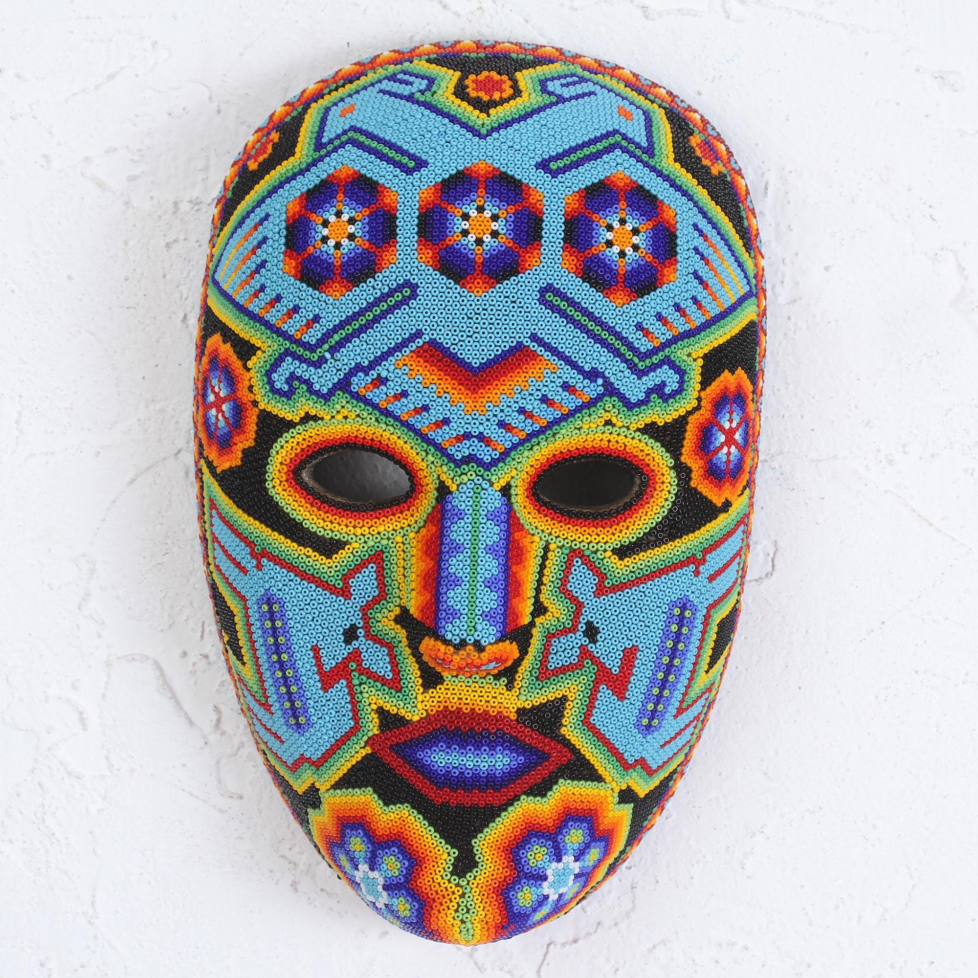 Authentic Hand Beaded Huichol Mask Blue Eagle Novica