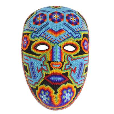 Beadwork mask, 'Blue Eagle' - Authentic Hand Beaded Huichol Mask