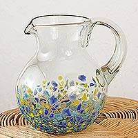 Handblown recycled glass pitcher, 'Tropical Confetti' - Handblown Recycled Glass Pitcher from Mexico