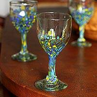 Recycled glass wine glasses, 'Beautiful Confetti' (set of 6) - Confetti Pattern Recycled Glass Wine Glasses (Set of 6)