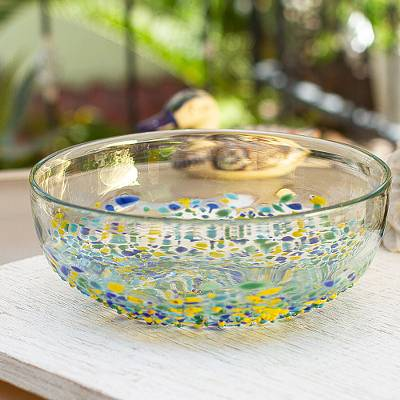 Recycled glass salad bowl, 'Beautiful Confetti' - Confetti Pattern Recycled Glass Salad Bowl from Mexico