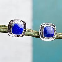 Lapis lazuli button earrings, 'Watery Reflection' - Square Lapis Lazuli Button Earrings from Mexico