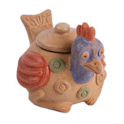 Rustic Ceramic Hen Jar Crafted in Mexico