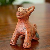 Ceramic ocarina, 'Xoloescuincle' - Hairless Dog Ceramic Ocarina Crafted in Mexico