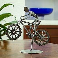 Upcycled metal auto part sculpture, 'Boy on a Bike' - Bicycle-Themed Upcycled Metal Auto Part Sculpture
