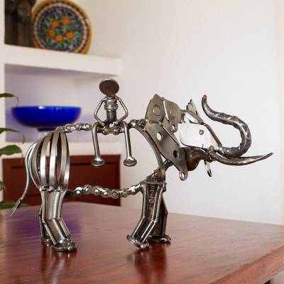 Upcycled metal auto part sculpture, 'The Elephant Rider' - Elephant-Themed Upcycled Metal Auto Part Sculpture