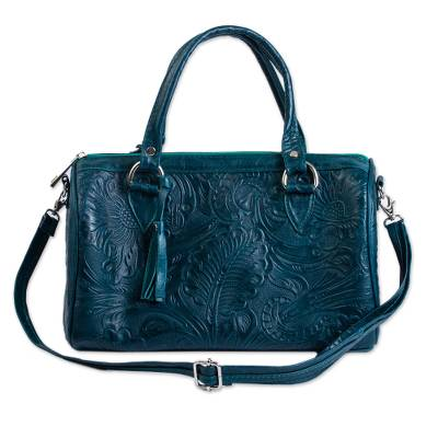 Leather handbag, 'Pine Green Garden' - Floral and Leaf Pattern Leather Handbag in Pine Green