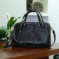 Leather handbag, 'Black Garden' - Floral and Leaf Pattern Black Leather Handbag from Mexico