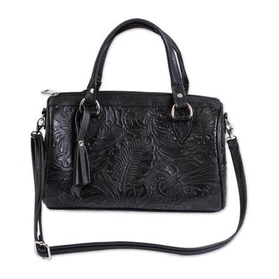 Leather handbag, 'Black Garden' - Floral and Leaf Pattern Black Leather Handbag from Mexico