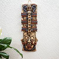 Ceramic mask, 'Maya Totem' - Maya-Themed Ceramic Wall Mask Crafted in Mexico
