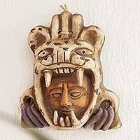 Ceramic mask, 'Tlaxcaltec Warrior' - Ceramic Wall Mask of a Tlaxcaltec Warrior from Mexico