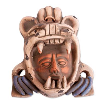 Ceramic mask, 'Tlaxcaltec Warrior' - Ceramic Wall Mask of a Tlaxcaltec Warrior from Mexico