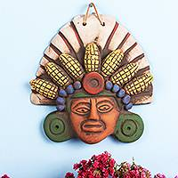 Ceramic mask, 'God of Corn' - God of Corn Ceramic Mask Crafted in Mexico