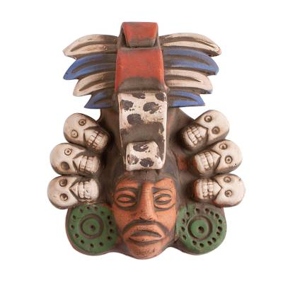 Skull-Themed Ceramic Wall Mask Crafted in Mexico