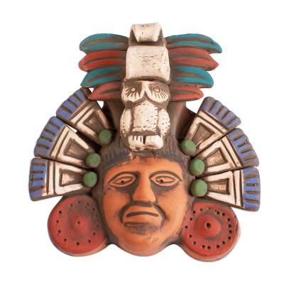 Ceramic mask, 'Ah Puch Headdress' - Handcrafted Ceramic Mask of Mayan God Ah Puch from Mexico