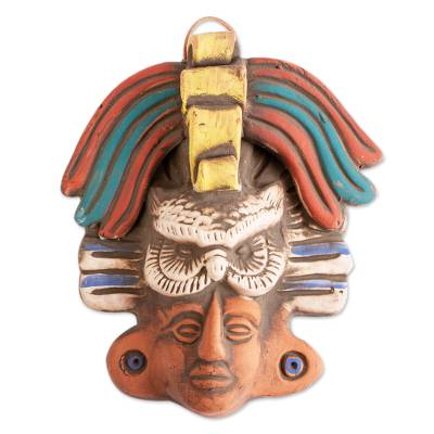 Ceramic Wall Mask of an Owl God from Mexico