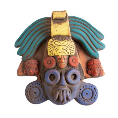 Ah Puch Ceramic Wall Mask Crafted in Mexico