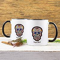 Ceramic mug, 'Sugar Skull' - Painted Sugar Skull Ceramic Mug from Mexico