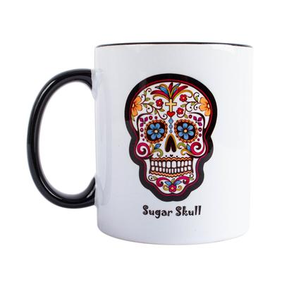 Ceramic mug, 'Sugar Skull' - Painted Sugar Skull Ceramic Mug from Mexico
