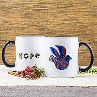 Ceramic mug, 'Folk Art Dove'
