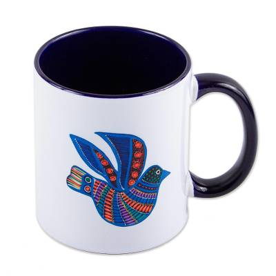 Ceramic mug, 'Folk Art Dove' - Painted Folk Art Dove Ceramic Mug from Mexico