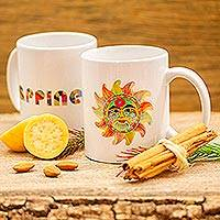 Ceramic mug, 'Happiness' - Painted Folk Art Sun Ceramic Mug from Mexico