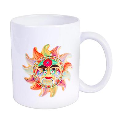 Ceramic mug, 'Happiness' - Painted Folk Art Sun Ceramic Mug from Mexico
