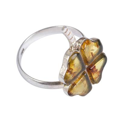 Amber Four-Leaf Clover Cocktail Ring from Mexico