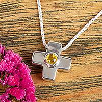 Amber pendant necklace, 'Cross of Antiquity' - Natural Amber Cross Pendant Necklace from Mexico