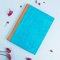 Leather accented recycled paper journal, 'Eco Turquoise' - Leather Accented Recycled Paper Journal in Turquoise