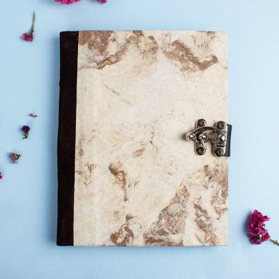 Recycled paper journal, 'Marbled Veins' - Suede Accented Recycled Amate Paper Journal in Beige