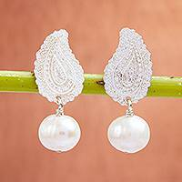Cultured pearl dangle earrings, 'Glowing Paisley' - Cultured Pearl Paisley Dangle Earrings from Mexico